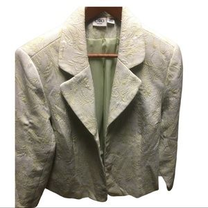 CATO WOMAN Green & Ivory Floral embossed Blazer